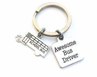 School Bus Driver Gift, Awesome Bus Driver Key Chain, Thank you present for appreciation day Driving Drive, Keychain Men Women Him Her Dad