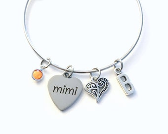 Mimi Bracelet, Gift for Mimi Jewelry, Grandmother Jewellery Stainless Steel initial Birthstone Birthday Christmas letter heart her Nana mom