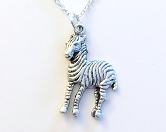 Zebra Necklace, Niece Daughter Granddaughter Son Gift for Zoologist Jewelry Animal Silver charm present Short Long Chain Sterling Stripes
