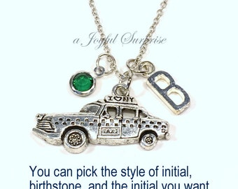 New York Taxi Necklace, Silver Yellow Cab Jewelry, Gift for Yorker Pewter Charm I heart NYC Big Apple Pendant Initial her him long short 925