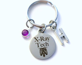 X-Ray Tech Keychain, Gift for Xray Technician Key Chain, Radiologic technologist Letter Initial Him Her Present men Women Radiographer Man