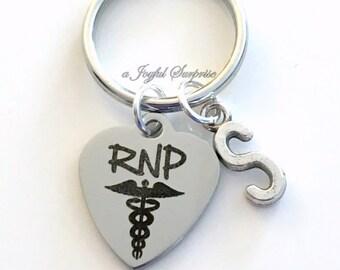 RNP KeyChain Registered Nurse Practitioner Gift for RNP Keyring Medical Stethoscope Key Chain initial personalized custom charm man men