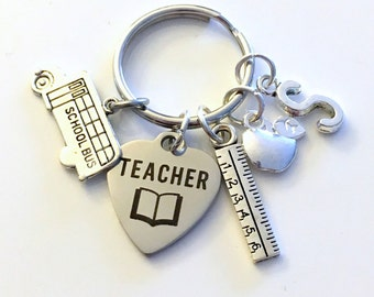 Personalized Teacher Gift, for Thank you Present, Teaching Keychain Student Key Chain Keyring apple ruler Bus letter Initial Christmas her
