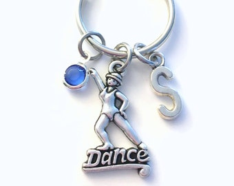 Tap Dance Keychain, Jazz Dancer's Keyring, Top Hat Key chain, Silver Gift for Step Teacher Pewter Custom Birthstone Initial Personalized her