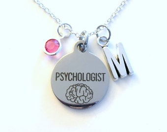 Psychologist Jewelry, Psychology Necklace Gift for Psych Student Graduation charm Personalized Initial Birthstone birthday Christmas present