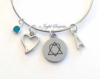 Gift for Adoptive Mom Charm Bracelet, Adoption Gotcha Present, New Parent Jewelry Adopt Symbol Bangle Silver initial Birthstone Women Woman