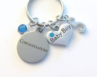 Gift for New Mom KeyChain, Father of Baby Boy Key Chain, Mother Keyring Jewelry charm Initial Birthstone present Men women Congratulations