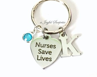 Nurses Save Lives Keyring, Nurse Keychain, RN Key Chain, Gift for RN Medical initial birthstone LVN Canadian Seller Shop women men her him