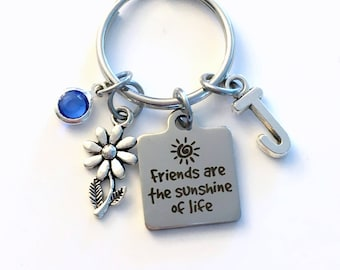 Gift for Florist Key Chain, Friends are the sunshine of life Keychain, Best Friend Birthstone Initial Present Women BFF Quote Silver Daisy