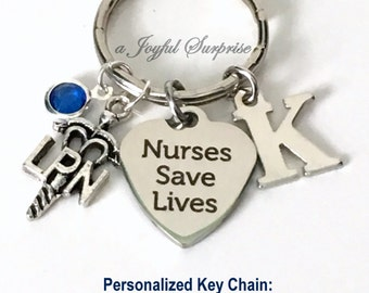 LPN Nurses Save Lives Keychain, Licensed Practical Keyring, Nursing Key Chain, Gift for LPN initial birthstone purse planner charm present