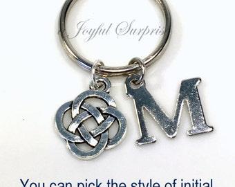 Celtic Gift, Celtic Keyring Celtic Circle Key chain Silver Celtic Knot Keychain Key Ring Irish Symbol Initial Jewelry purse charm planner