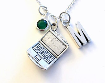 Laptop Necklace, Gift for Computer Tech Jewelry, Engineer Technician Charm Digital  Technology Software Game Initial Birthstone present girl