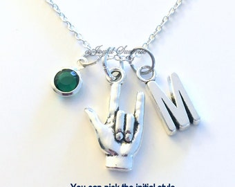 Gift for Girlfriend, Love you Sign Language Necklace, Hand Symbol Jewelry for Mom charm Initial Birthstone birthday Christmas present her