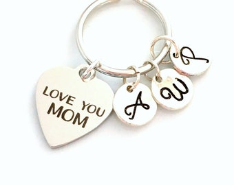 Love You Mom Gift, Multiple Letters, Mother's KeyChain from Children Kids Keyring Key chain letter Initial Personalized Custom 2 3 4 5 6 7