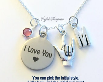 I love you Necklace Love Sign Language Jewelry, Luv Hand Symbol Gift for Girlfriend Mom charm Initial Birthstone birthday Christmas present