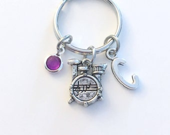 Drum Keychain, Drummer's Key Chain Gift for Percussionist Keyring Music Jewelry Percussion initial birthstone Band kit Teen Girl Boy Teenage