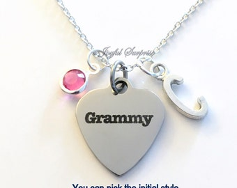 Grammy Necklace, Grammy Jewelry, Grandmother Gift for Grammy charm Initial Birthstone Birthday present stainless steel engraved custom