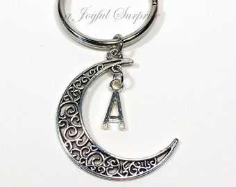Crescent Moon Keychain with Initial, Half Moon Key chain Crescent Moon Gift Filigree Moon Keyring with Initial Personalized Monogram letter