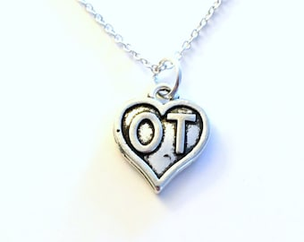 OT Jewelry Gift for Man or Woman, Occupational Therapist Necklace, Therapy Symbol heart Charm Birthday Christmas Long Short Chain Sterling