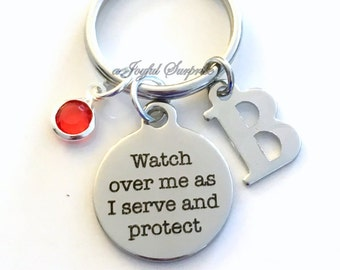 Watch over me as I serve and protect KeyChain Soldier Keyring Military Key chain Gift for Navy Marine Initial birthday present Christmas