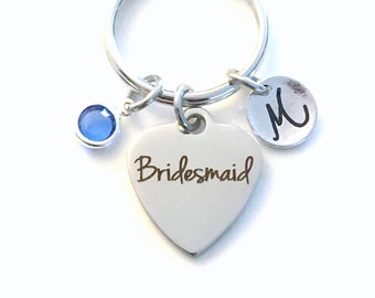 Bridesmaid Keychain, Bridal Party Key Chain, Gift for Bridesmaid Keyring, Wedding Party Present Birthstone Initial Personalized Souvenir