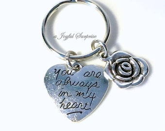 Gift for Mother of the Bride Groom, Valentines Day present, Heart Keychain, Rose Key chain, You are always in my heart Keyring ring sister