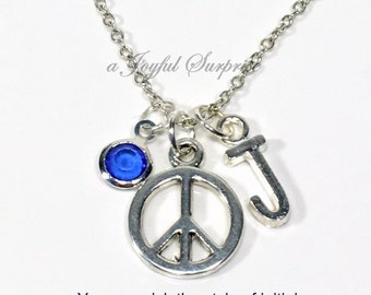 Peace Sign Necklace, Silver Peace Circle Jewelry, Love and Peace Symbol Gift for Teenage Daughter Pewter Pendant initial birthstone custom