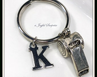Referee Keychain Whistle Key Chain, Coach Keyring, with Initial Personalized Bag Zip pull gift for Man men Dad Father's Day Present 163