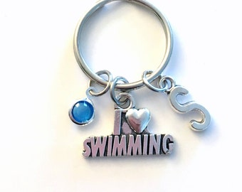 I love Swimming Keychain, Swimmer's Key Chain, Swim Keyring, Charm Letter Initial Present her him women Gift for Synchronized Friend Synchro