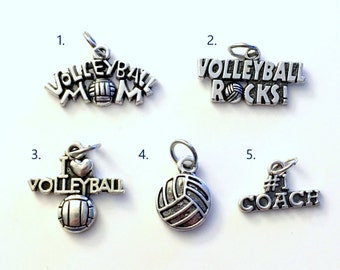 Volleyball Charm, Add on to any of my listings 1 single Pendant, Silver I love Volleyball Mom Volley Ball Rocks coach Pendant Pewter Charms