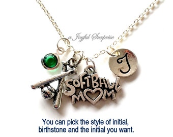Softball Mom Necklace, Soft Ball Mom Jewelry Gift Mother Day Present Charm Personalized Initial Birthstone birthday gift Christmas present