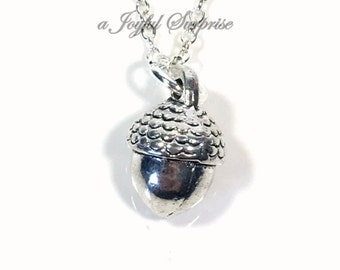 Acorn Necklace, Acorn Jewelry, Naturalist Gift, Walnut Charm Necklace, Hazelnut Gift, horticulturalist Gift, Male Men Necklace Silver Nut 13