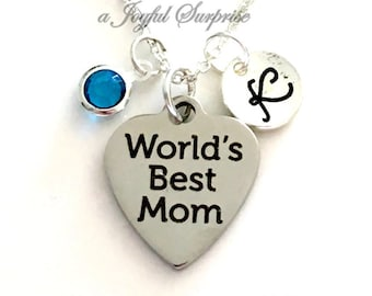 World's Best Mom Necklace, Mother Jewelry, Gift for Mom Gift, Mother's Day Gift, Birthday present Charm Pendant Birthstone Initial Stainless