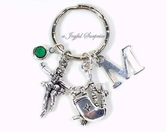 Scottish Dancer Keychain, Irish Key Chain Stepdance Keyring Highland Silver Gift for Step Dance Teacher Celtic Music Bag pipes Bagpipe Charm