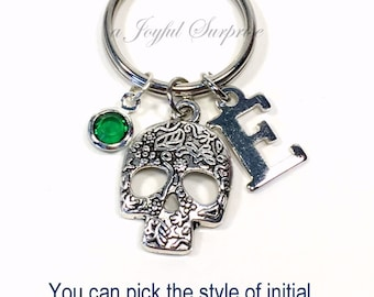 Sugar Skull Keychain, Mexican Keyring, Bones Key chain, Mexico Catrina Gift for Teen, Pewter Calavera, Gothic Steam Punk Initial Birthstone