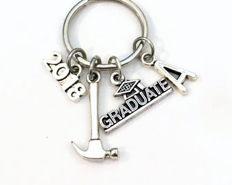 Graduation Gift for him, 2018 2017 Project Manager Keychain, construction Builder Key chain, Apprentice Keyring Grad Initial letter Man Men