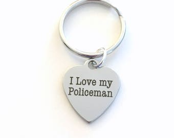 Gift for Police Officer's Wife Keychain, I love my Policeman Key Chain Policemen's Mom Keyring birthday Christmas present women her him Man