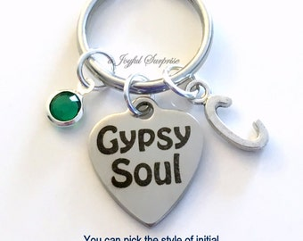 Gypsy Soul Keychain Gypsy Key Chain Gypsies Gift for Gypsy Keyring, Birthday Initial birthstone personalized custom Christmas Present purse