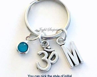 Ohm KeyChain Ohm Keyring Yoga Key chain Chinese Symbol, Om Jewelry Grounding Personalized Initial Birthstone birthday Gift Christmas Present