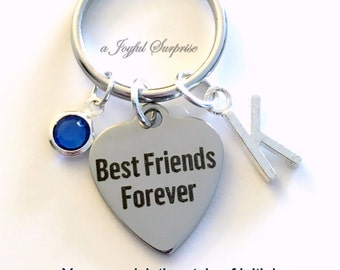 Best Friends Forever Keychain, BFF Key Chain Gift for Best Friend, Going away present, Girlfriend Keyring, Birthday Present Initial engraved