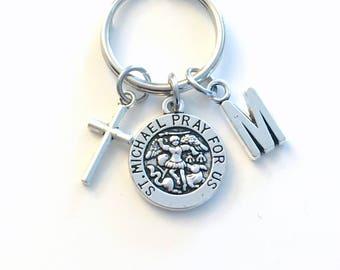 Saint Michael Keychain, Archangel Key Chain, Religious Medallion Keyring, Initial present women Men her him Get Well Sickness Sick gift St
