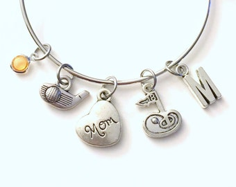 Golf Mom Bracelet, or Aunt Wife Sister Jewelry, Charm Bangle Silver initial Gift for Aunt Niece Granddaughter Girl birthstone woman ladies