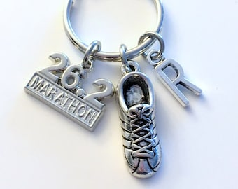 First Marathon KeyChain, 26.2 or 13.1 Charm, Gift for Half Marathon Runner 1st Time Run Keyring Jewelry Silver Sneaker man Women Woman Men