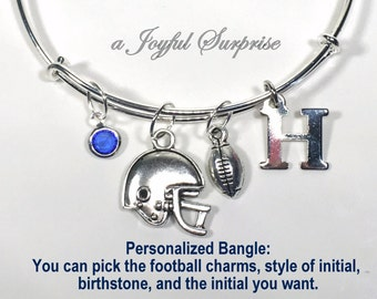 Football Bracelet, Foot Ball Charm Bangle, Gift for Football mom present Silver Helmet Ball Sports Jewelry Adjustable initial Personalized