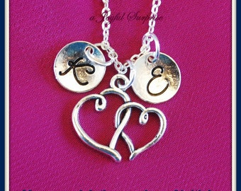 Monogram Heart Necklace, Mother's Jewelry, Custom Gift, Wedding Bridal, Silver Intertwined Charm Mother Daughter, with Initial 2 letters 1