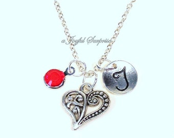 Valentine's Present for Her Jewelry, Silver Heart Necklace, Gift for Girlfriend Mother's Day Anniversary Gift for Mom Fiance Initial wife