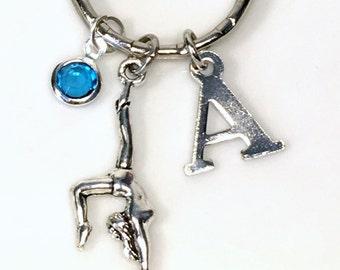Gymnast Keychain Custom Silver Gymnastic Keyring Key Chain, Gift For Girl or boy Jewelry Purse Planner Charm Personalized initial teenage