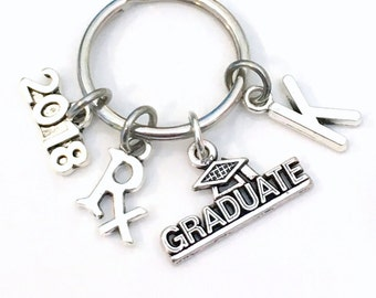 Rx Graduation Present 2019 Pharmacy Keychain, Gift for Pharmacist Graduate 2020 Key Chain Grad Keyring with Initial letter R x Jewelry 2018
