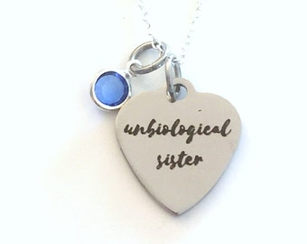Gift for Best Friend Necklace, Unbiological Sister Jewelry, Girlfriend Present, with birthstone initial letter silver BFF girl