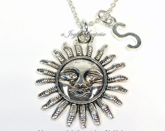 Smiling Sun Necklace, Sun Jewelry, Gifts for Sunshine Present, Summer Jewelry, Solar Sunny Positive Vibes Necklace with initial letter her